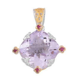 Designer Inspired- Checkerboard Cut AAA Rose De France Amethyst (Cush), Burmese Ruby Pendant in Rhodium and Yellow Gold Overlay Sterling Silver 12.500 Ct.