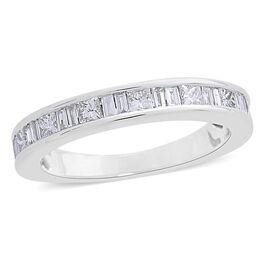 ILIANA 18K White Gold IGI Certified Diamond (Princess and Bgt) (SI/G-H) Half Eternity Band Ring 1.000 Ct.