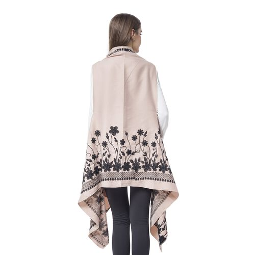 Designer Inspired - Beige and Black Colour Floral Embroidered Kimono (Size 180X90 Cm)