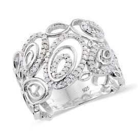Designer Inspired- Diamond (Rnd) Ring in Platinum Overlay Sterling Silver 0.330 Ct.