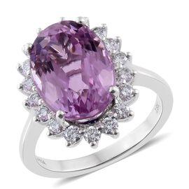 ILIANA 18K W Gold AAAA Kunzite (Ovl 8.75 Ct), Diamond (SI/G-H) Ring 9.500 Ct., Metal wt 5.50 Gms.
