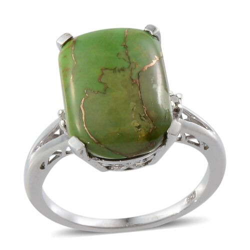Mojave Green Turquoise (Cush 8.00 Ct), White Topaz Ring in Platinum Overlay Sterling Silver 8.010 Ct.
