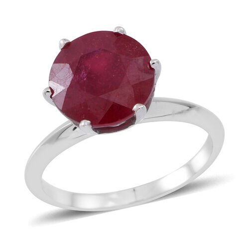 9K W Gold AAA African Ruby (Rnd) Solitaire Ring 5.750 Ct.