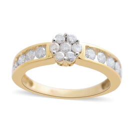 9K Yellow Gold SGL Certified Diamond (Rnd) (I3/G-H) Flower Ring 1.000 Ct.