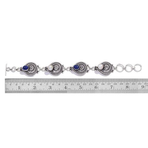 Jewels of India Sapphire and Pearl Bracelet with Toggle Lock