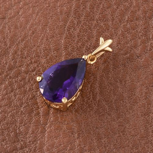 Lusaka Amethyst (Pear) Solitaire Pendant in 14K Gold Overlay Sterling Silver 2.750 Ct.