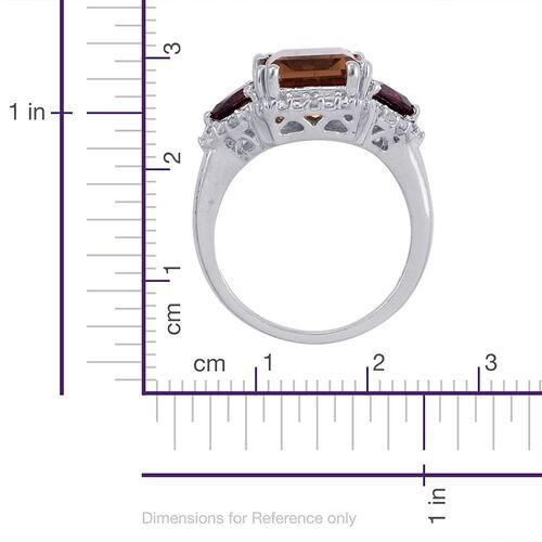 Alexite (Oct 4.25 Ct), Rhodolite Garnet and Diamond Ring in Platinum Overlay Sterling Silver 5.350 Ct.