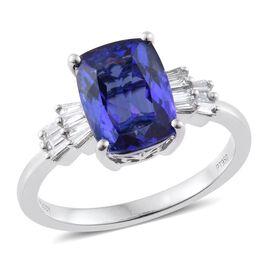 RHAPSODY 950 Platinum 3.83 Ct AAAA Tanzanite Cushion Ring with Diamond VS E-F