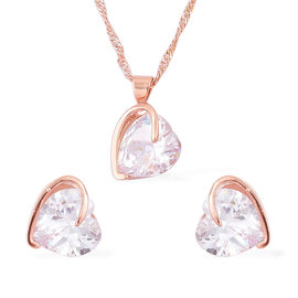 Designer Inspired-AAA Simulated Diamond Heart Design Pendant With Chain (Size 18 with 1.5 inch Extender) and Hook Earrings Rose Gold Plated