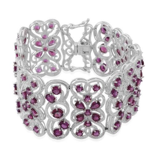 Rhodolite Garnet (Pear) Bracelet (Size 8) in Rhodium Plated Sterling Silver 39.400 Ct.