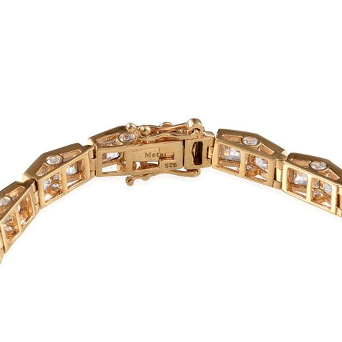 J Francis - 14K Gold Overlay Sterling Silver (Sqr) Bracelet (Size 8) Made With SWAROVSKI ZIRCONIA