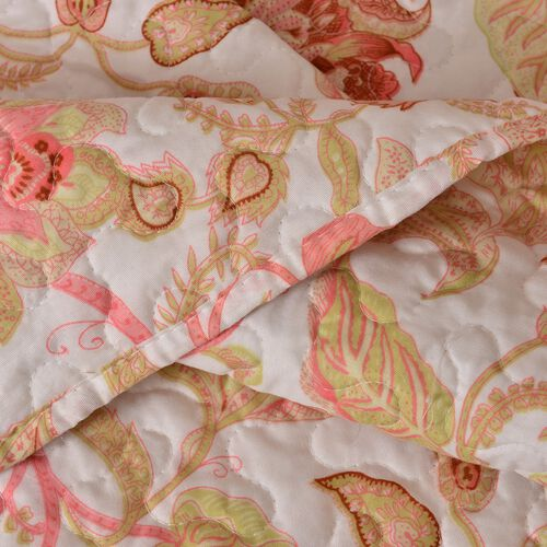 King Size Red, Pink and Multi Colour Floral Reversible SUMMER Quilt (Size 260X240 Cm) and 2 Pillow Shams (Size 70X50 Cm)