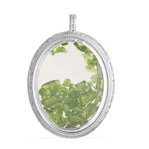 Green Star Diopside and Glass Pendant in Silver Tone with Stainless Steel Chain