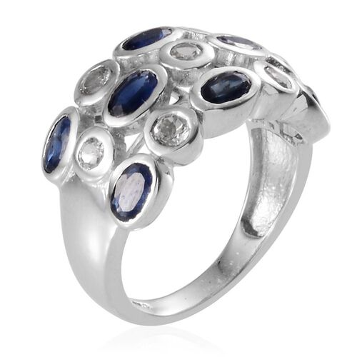 Kanchanaburi Blue Sapphire (Ovl), White Topaz Ring in Platinum Overlay Sterling Silver 3.250 Ct.