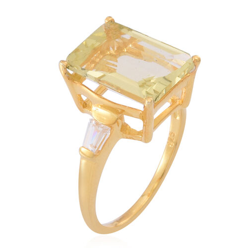 Natural Ouro Verde Quartz (Oct 6.75 Ct), White Topaz Ring in 14K Gold Overlay Sterling Silver 7.000 Ct.