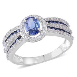 9K W Gold AAA Ceylon Sapphire (Ovl 1.00 Ct), Kanchanaburi Blue Sapphire and Natural Cambodian White Zircon Ring 2.000 Ct.