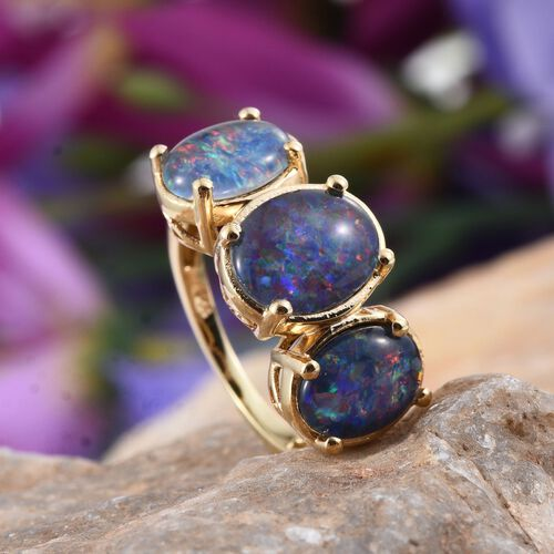 Australian Boulder Opal (Ovl 1.75 Ct) 3 Stone Ring in 14K Gold Overlay Sterling Silver 4.250 Ct.