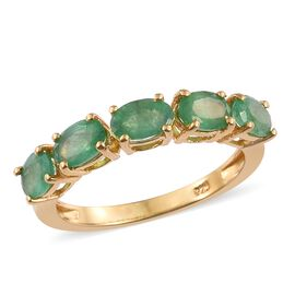 Kagem Zambian Emerald (Ovl) 5 Stone Ring in 14K Gold Overlay Sterling Silver 2.250 Ct.