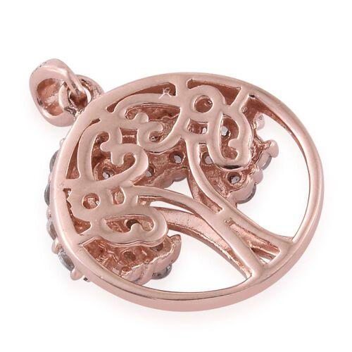 Espirito Santo Aquamarine 0.75 Ct Silver Tree of Life Pendant in Rose Gold Overlay