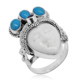 Princess Bali Collection OX Bone Carved Face (Ovl), Arizona Sleeping Beauty Turquoise and African Ruby Ring in Sterling Silver 7.660 Ct. Silver wt. 10.00 Gms.