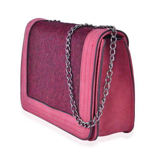 Burgundy Colour Faux Fur Crossbody Bag with Chain Strap (Size 21x15x6.5 Cm)