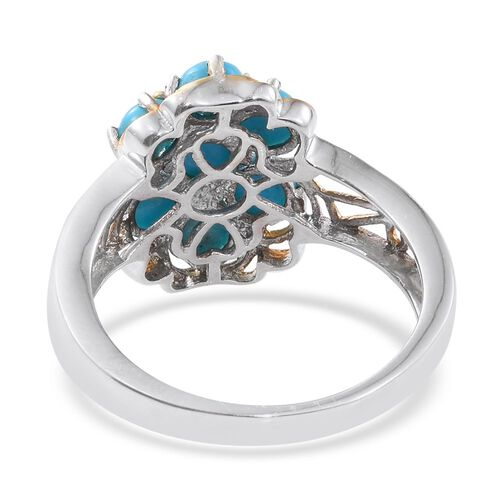 Arizona Sleeping Beauty Turquoise (Rnd) Floral Ring in Platinum and Yellow Gold Overlay Sterling Silver 1.750 Ct.