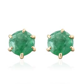 ILIANA 18K Yellow Gold AAA Kagem Zambian Emerald (Rnd) Stud Earrings (with Screw Back) 1.000 Ct.