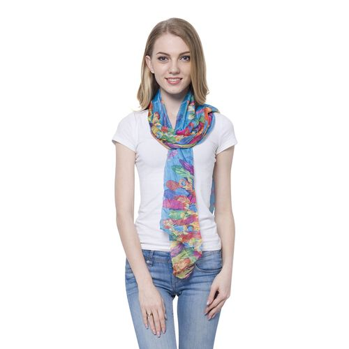 Blue and Multi Colour Plume Pattern Scarf (Size 170 x70 Cm)