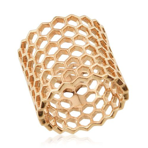 14K Gold Overlay Sterling Silver Honey Comb Ring, Silver wt 6.00 Gms.