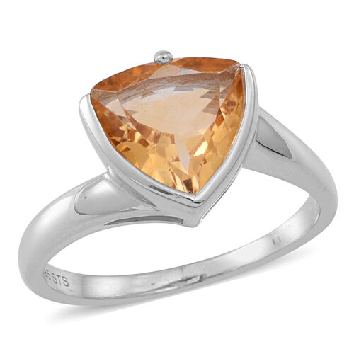 Citrine (Trl) Solitaire Ring in Rhodium Plated Sterling Silver 2.750 Ct.