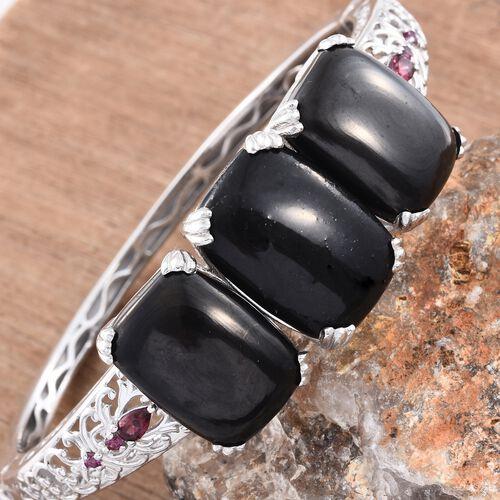 Shungite (Cush 15.25 Ct), Rhodolite Garnet Bangle (Size 7.5) in Platinum Overlay Sterling Silver 43.750 Ct. Silver wt 28.00 Gms.