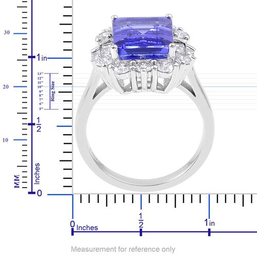 ILIANA 18K W Gold AAA Tanzanite (Oct 6.25 Ct), Diamond (SI/G-H) Ring 7.500 Ct. Gold Wt. 6.89 Gms SIZE O