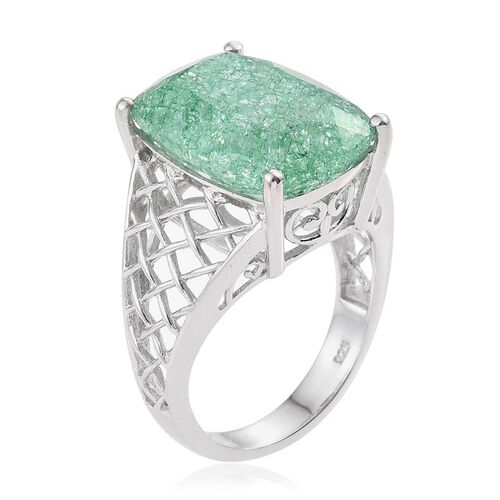 Emerald Green Crackled Quartz (Cush) Ring in Platinum Overlay Sterling Silver 14.750 Ct.