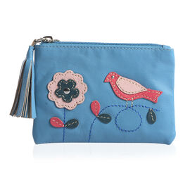 100% Genuine Leather RFID Blocker Blue, Red and Multi Colour Bird with Flower Pattern Wallet with Multiple Card Slots (Size 13X9 Cm)