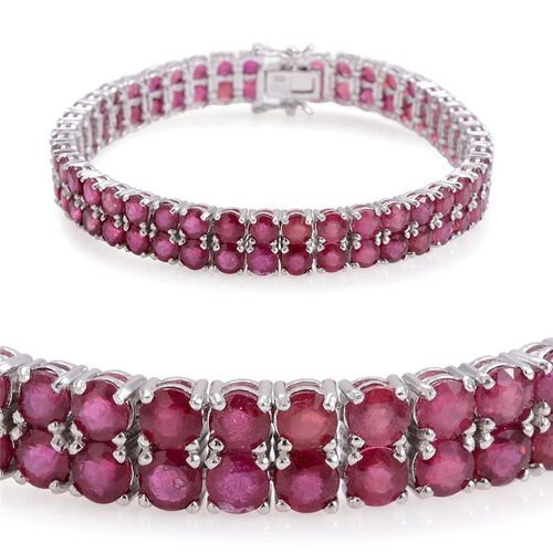 AAA African Ruby (Rnd) Bracelet in Rhodium Plated Sterling Silver (Size 7.5) 40.000 Ct.