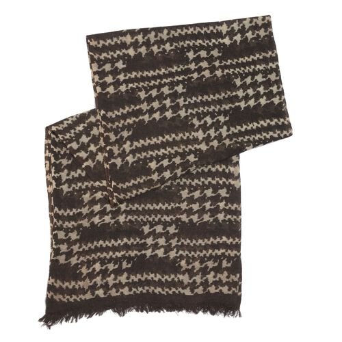 100% Merino Wool Chocolate and Multi Colour Printed Scarf (Size 180x70 Cm)
