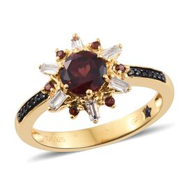 GP Mozambique Garnet (Rnd 1.55 Ct), Kanchanaburi Blue Sapphire, White Topaz and Boi Ploi Black Spinel Ring in 14K Gold Overlay Sterling Silver 2.000 Ct.