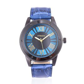 STRADA Japanese Movement Roman Numeral Dial Water Resistant Watch in Black Tone with Stainless Steel Back and Dark Blue Colour Strap