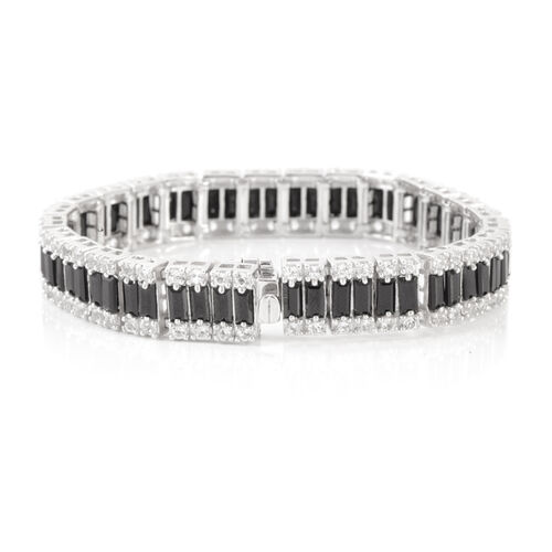 Boi Ploi Black Spinel (Bgt), White Topaz Bracelet in Rhodium Plated Sterling Silver (Size 6.75) 22.500 Ct.