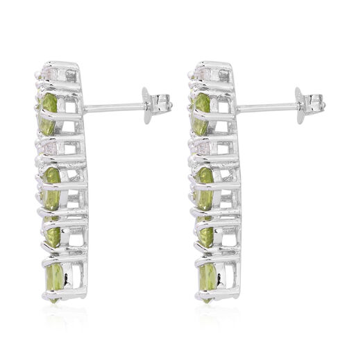 Designer Inspired- AAA Hebei Peridot (Ovl), Natural White Cambodian Zircon Earrings (with Push Back) in Rhodium Plated Sterling Silver 6.650 Ct. Silver wt 5.70 Gms.