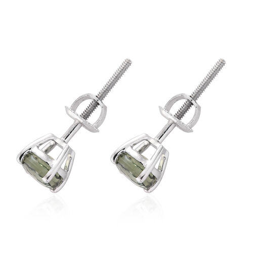ILIANA 18K White Gold 1.40 Carat AAA Green Sapphire (Rnd) Stud Earrings (with Screw Back)