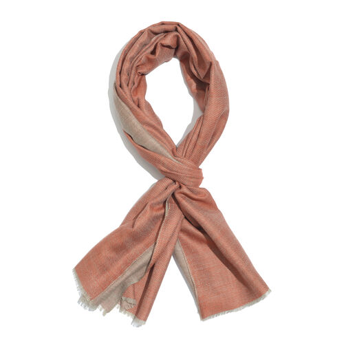100% Cashmere Wool Brown Colour Reversible Scarf (Size 200x70 Cm)