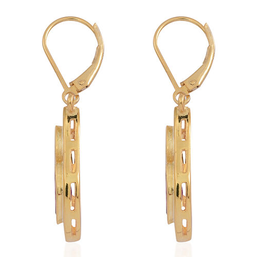 African Ruby (Mrq) Lever Back Earrings in 14K Gold Overlay Sterling Silver 2.750 Ct.