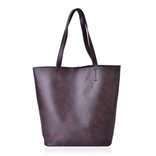 Set of 2 - Chocolate Colour Large Handbag (Size 40x35x31x13.5 Cm) and Small Handbag (Size 23.5x21x7 Cm)