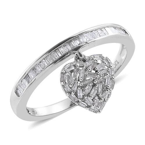 GP Diamond (Bgt), Kanchanaburi Blue Sapphire Heart Charm Ring in Platinum Overlay Sterling Silver 0.530 Ct.