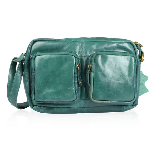 100% Genuine Leather RFID Blocker Olive Green Colour Shoulder Bag (Size 27X17X4 Cm)
