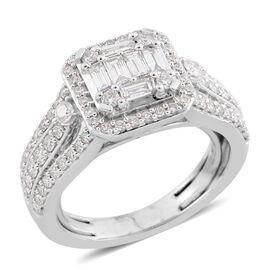 New York Close Out - 14K White Gold Diamond (Bgt and Rnd) (I1-I2/G-H) Ring 1.000 Ct., Gold wt 6.40 Gms.
