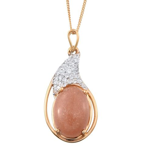 Morogoro Peach Sunstone (Ovl 6.50 Ct), Natural Cambodian White Zircon Pendant With Chain in 14K Gold Overlay Sterling Silver 7.000 Ct.