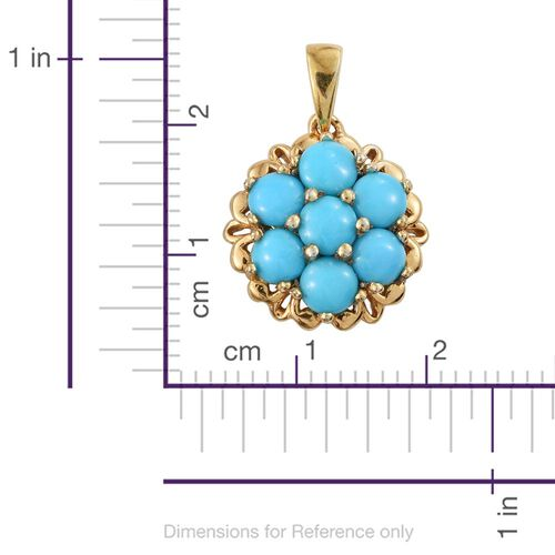 Arizona Sleeping Beauty Turquoise (Rnd) 7 Stone Pendant in 14K Gold Overlay Sterling Silver 1.500 Ct.