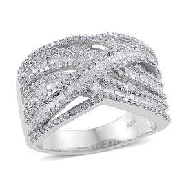 Diamond (Rnd) Criss Cross Ring in Platinum Overlay Sterling Silver 1.500 Ct.